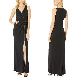 Adrianna Papell Black Surplice Beaded Trim Gown 14